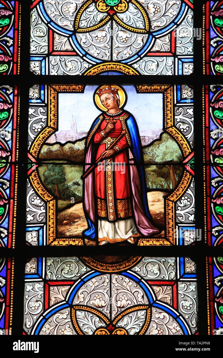 Vitrail. Saint-Eglise Cook. Saint-Cloud. Glasmalerei. Kirche St. Clodoald. Saint-Cloud. Stockbild