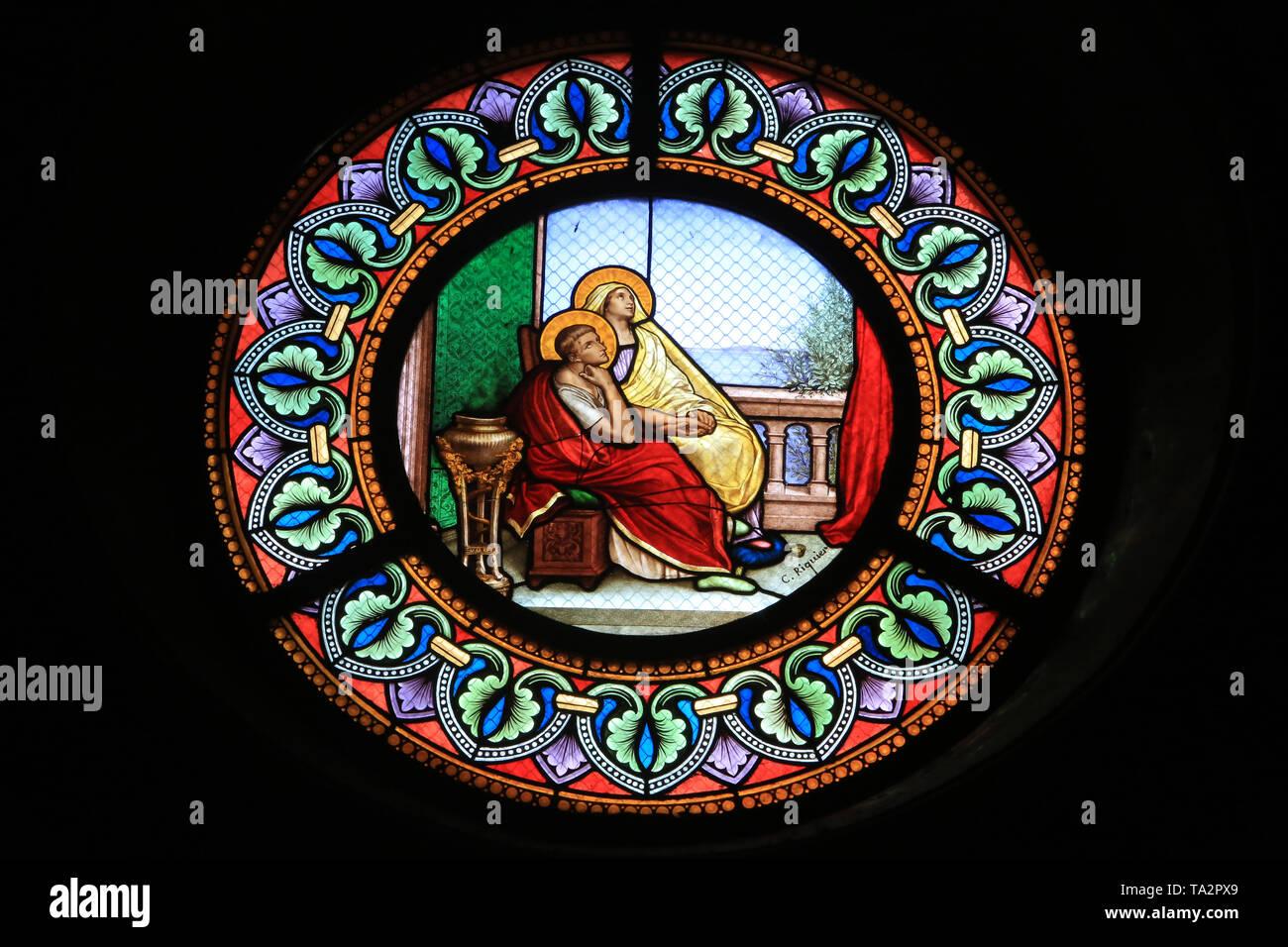 Saint-Augustin et sa mère Monique. Eglise Cook. Saint-Cloud. Stockbild