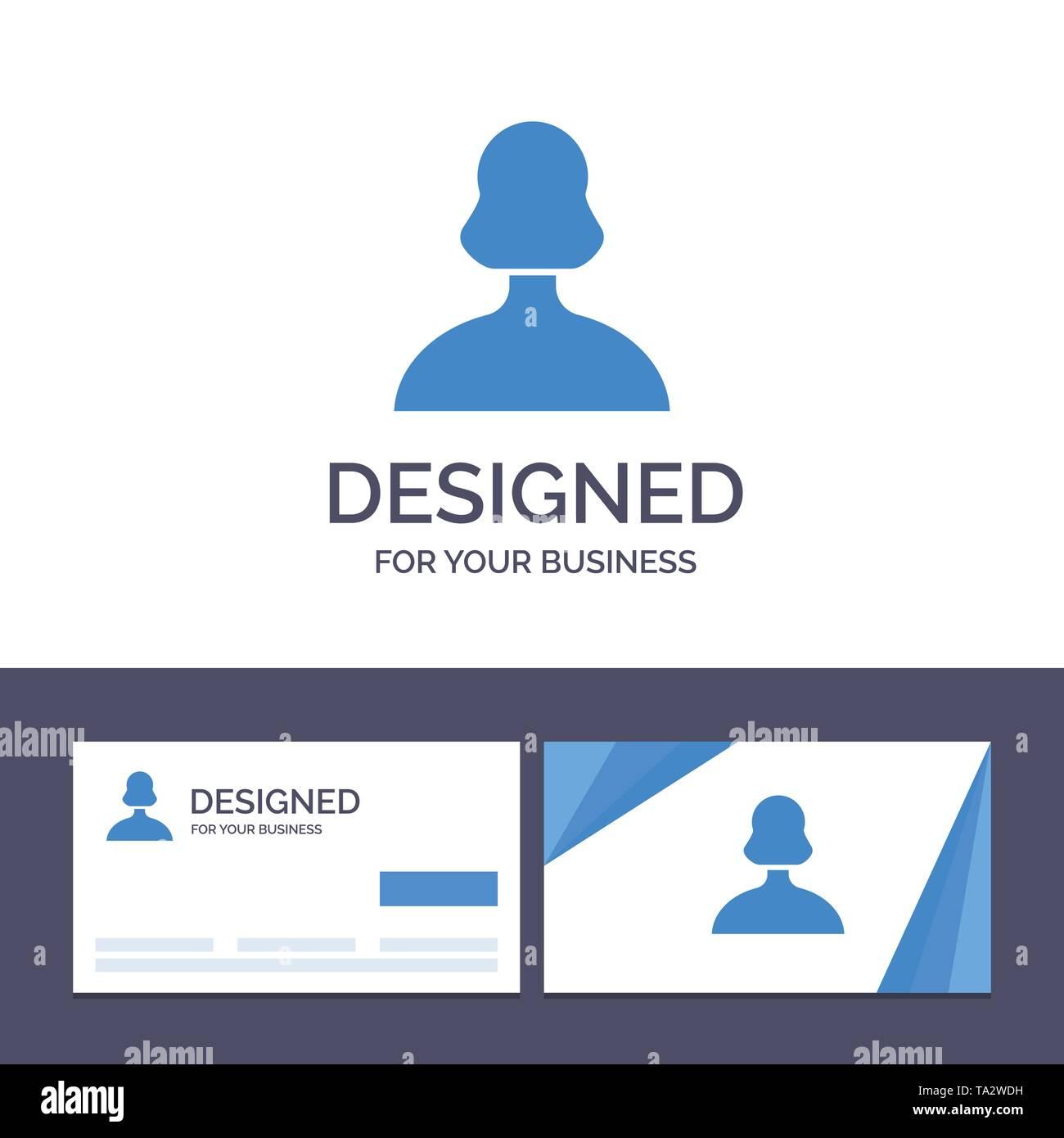 Creative Business Card und Logo Vorlage Avatar, Mädchen,, Person, Benutzer Vector Illustration Stockbild