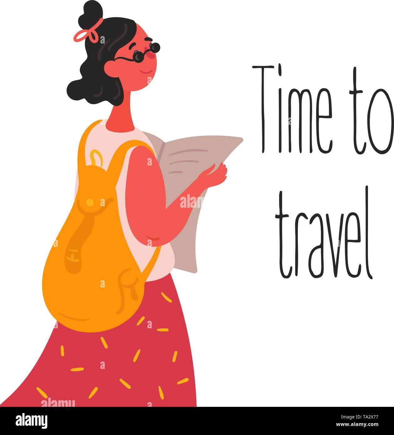 Die Zeit reisen. Touristische hipster Mädchen mit Karte. Junge europäische suchen Frau in Sonnenbrille mit Rucksack, Tasche nimmt Papier Karte und für euro Reise bereit. Stockbild