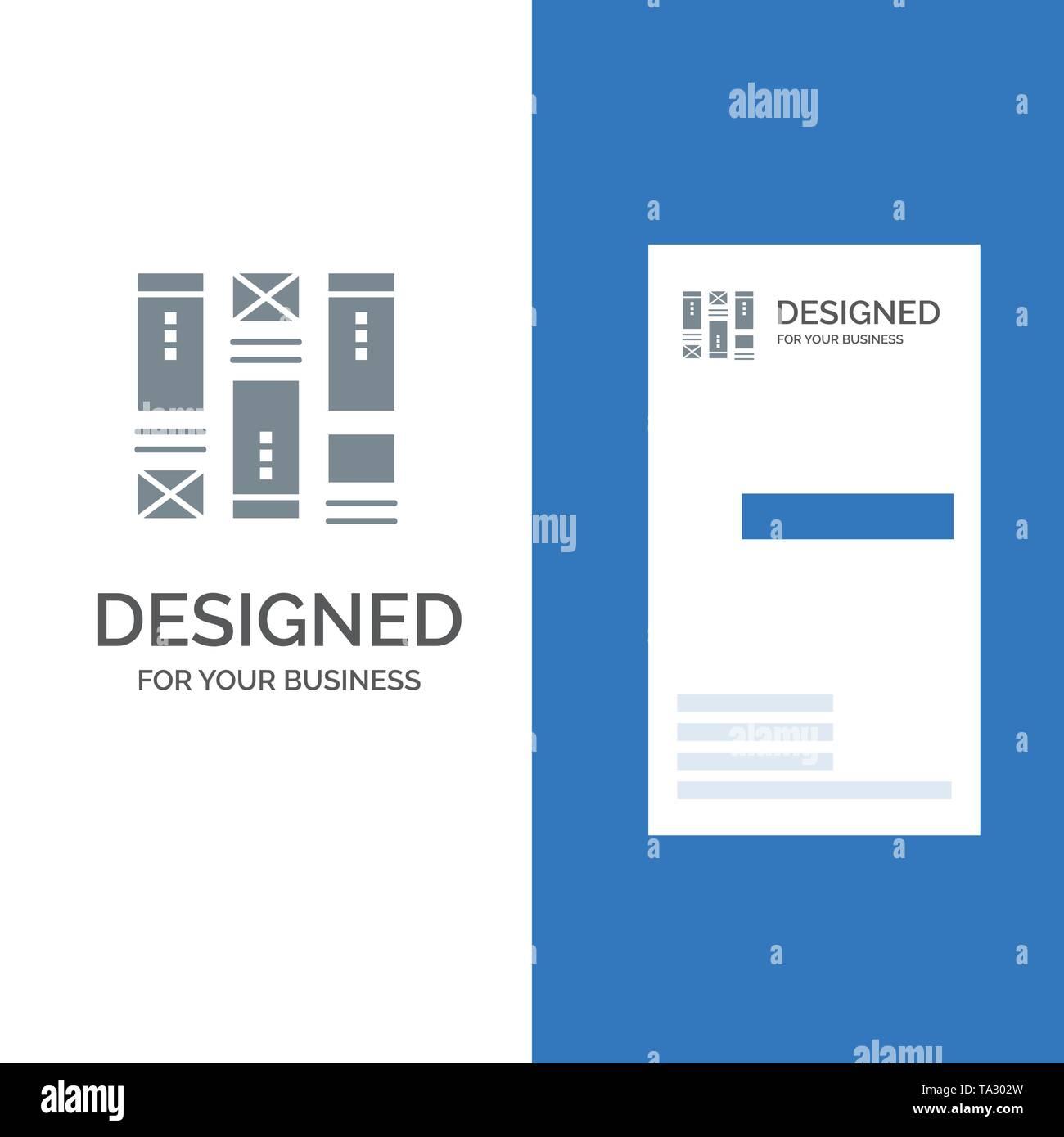 Kabel Framing, Skizzieren, Drahtmodell, Idee, Grau Logo Design und Business Card Template Stockbild