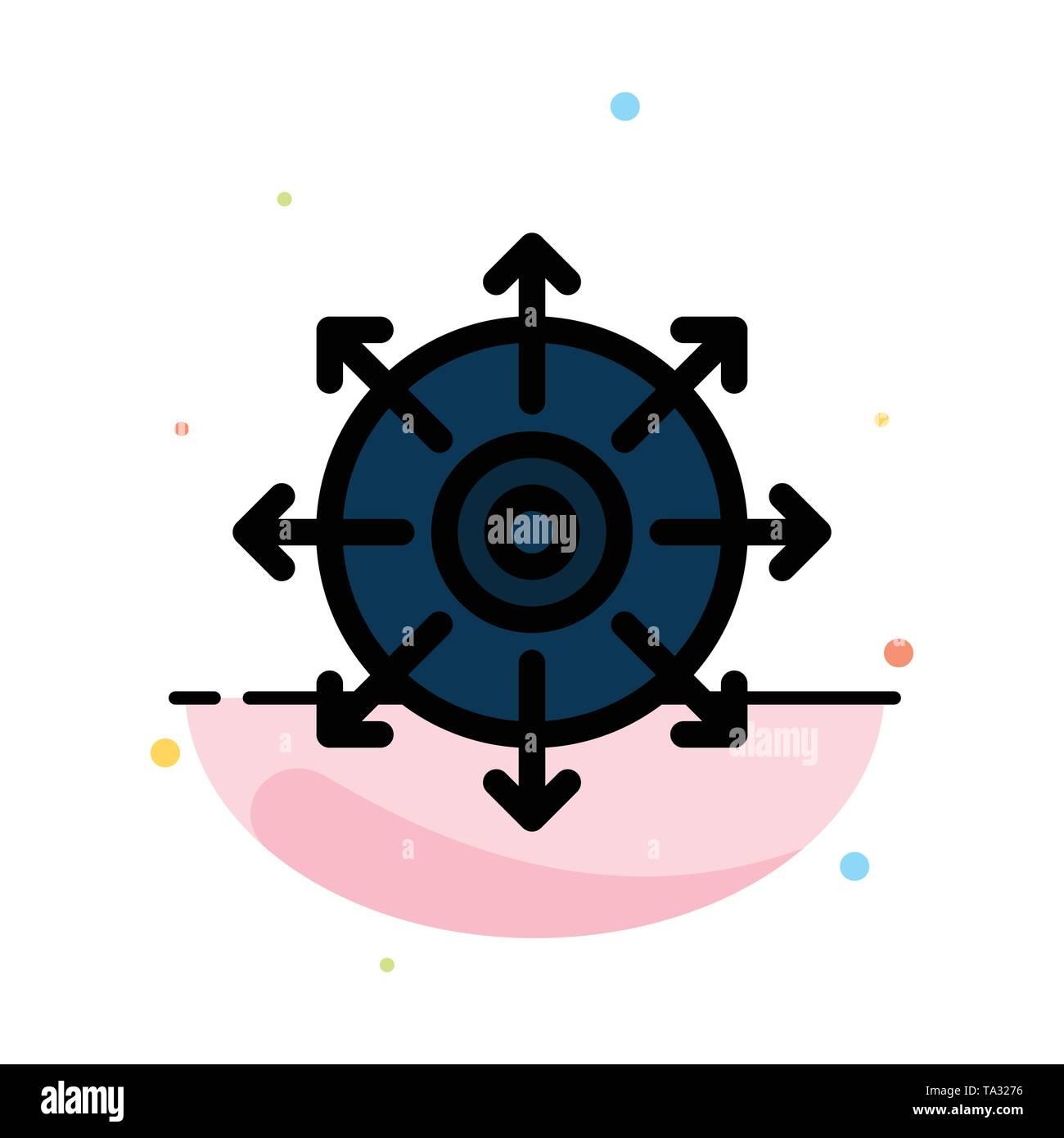 Ziel, Punkt, erreichen, Erfolg Abstrakte flachen Farbe Symbol Vorlage Stockbild