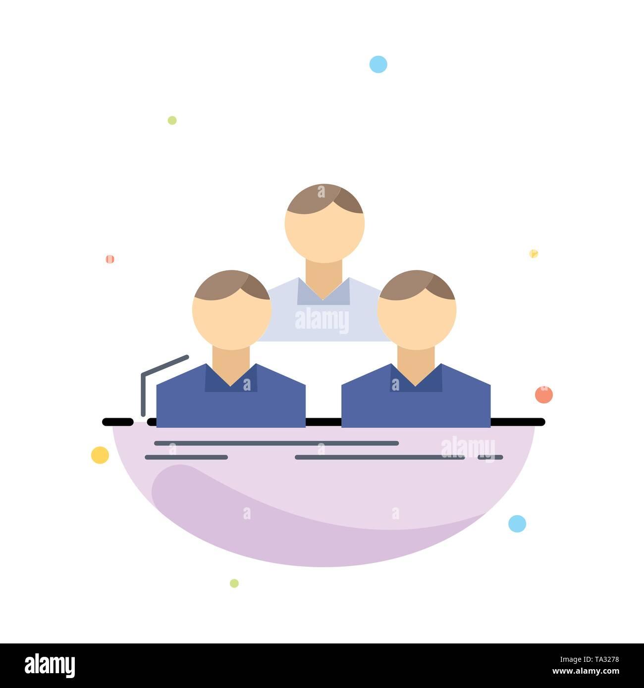 Unternehmen, Mitarbeiter, Gruppe, Leute, Team flach Farbe Symbol Vektor Stockbild