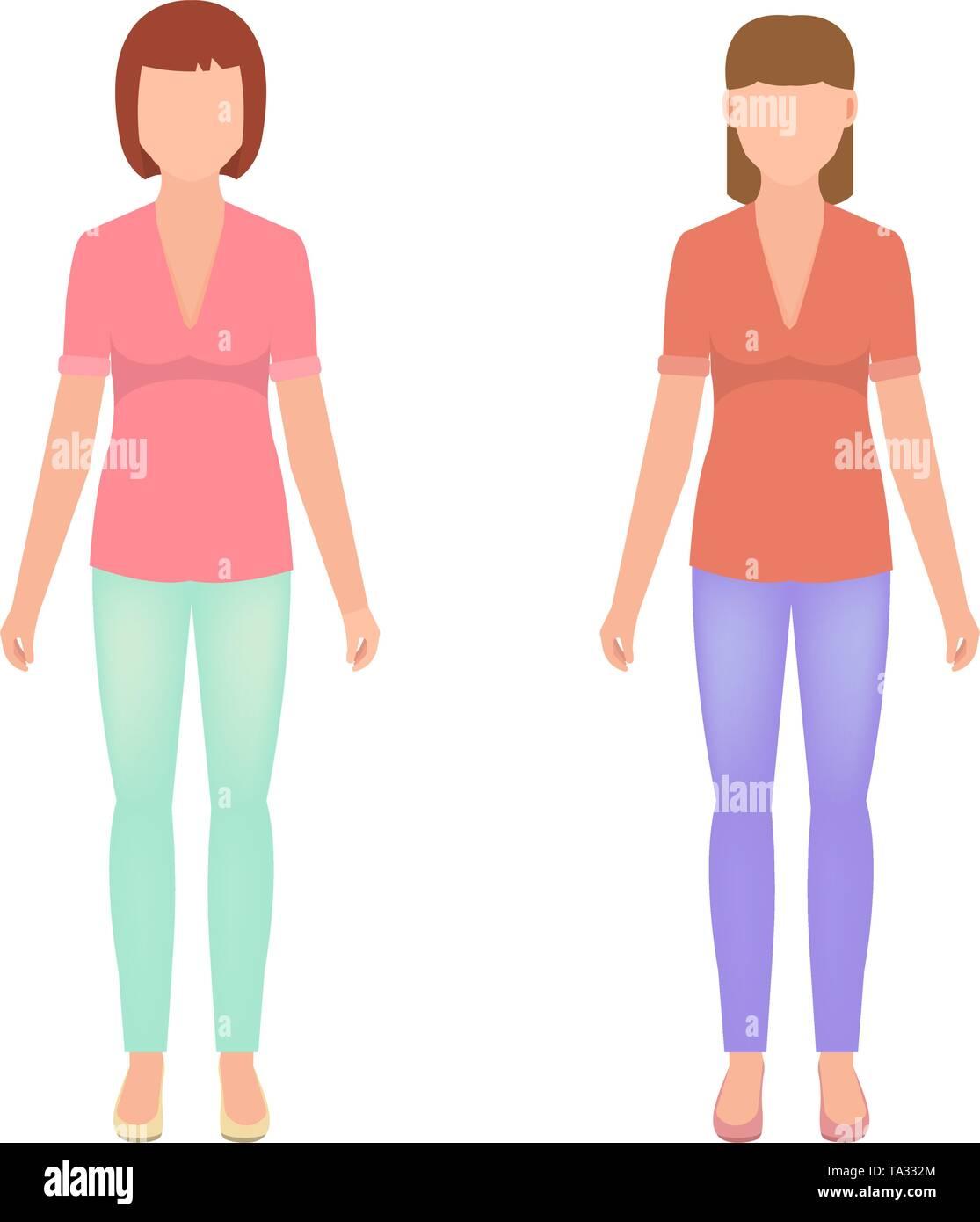 Zwei Mädchen im vollen Wachstum, weibliche Avatare im flachen Stil, stilvolle Frauen Vector Illustration Stockbild