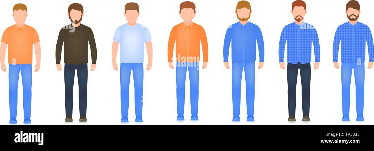 Volle Länge Männer Icon Set, männliche Avatare in Flat, stilvolle Kerle Vector Illustration Stockbild