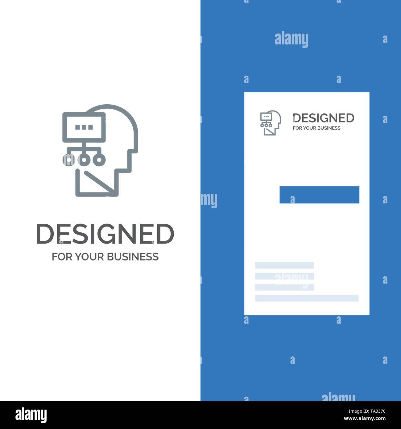 Planung, Theorie, Verstand, Kopf grau Logo Design und Business Card Template Stockbild