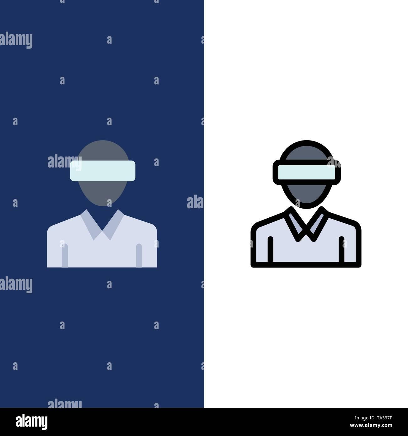 Gläser, Motion, Realität, Technik, Mensch Symbole. Flach und Online ausgefüllt Icon Set Vektor blauem Hintergrund Stockbild