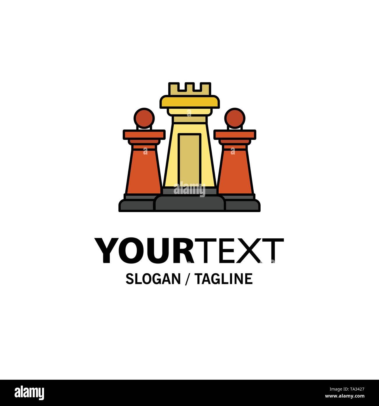 Schach, Computer, Strategie, Taktik, Technik Business Logo Vorlage. Flachen Farbe Stockbild
