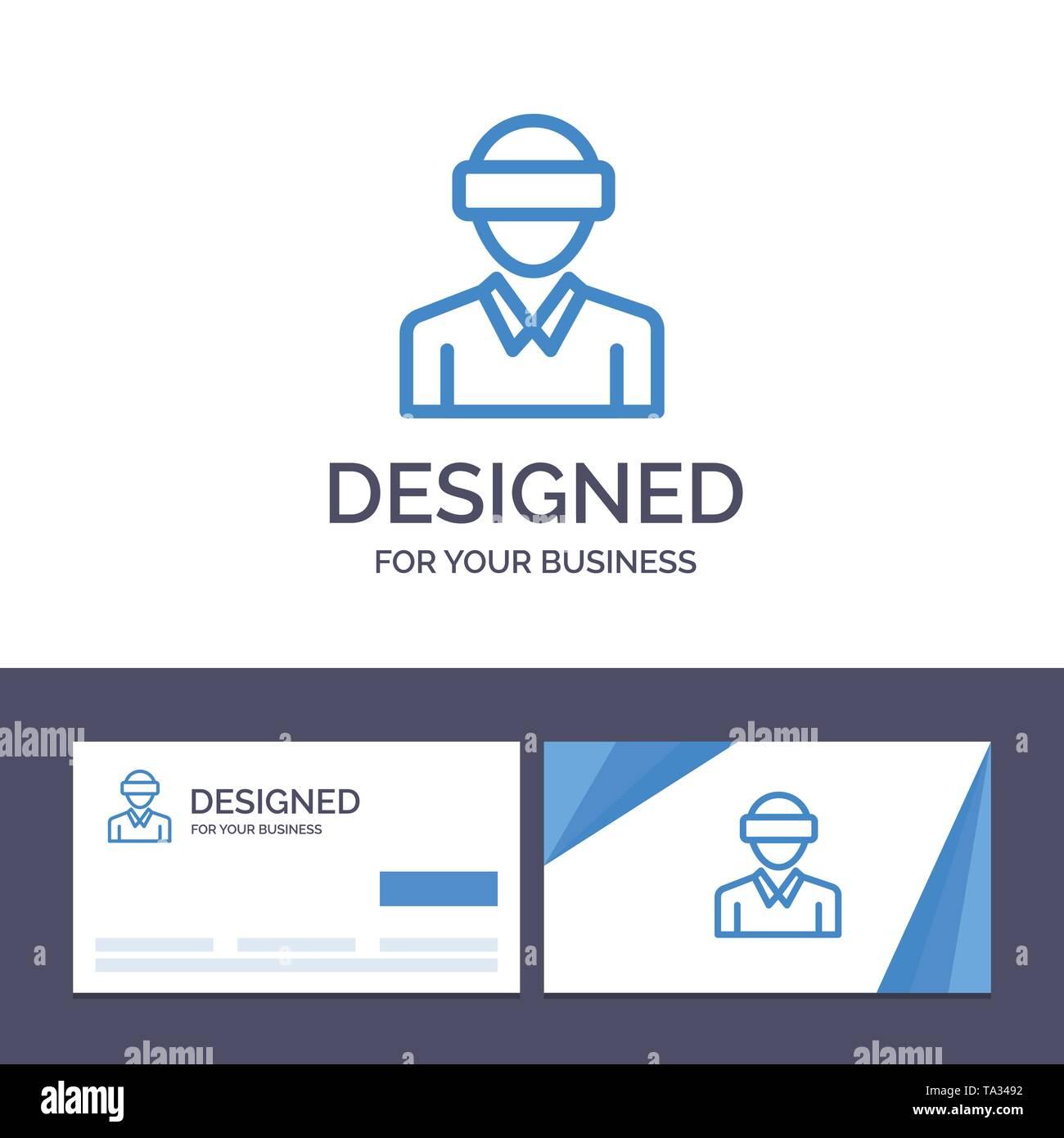 Creative Business Card und Logo Vorlage Gläser, Motion, Realität, Technologie, Mann Vector Illustration Stockbild