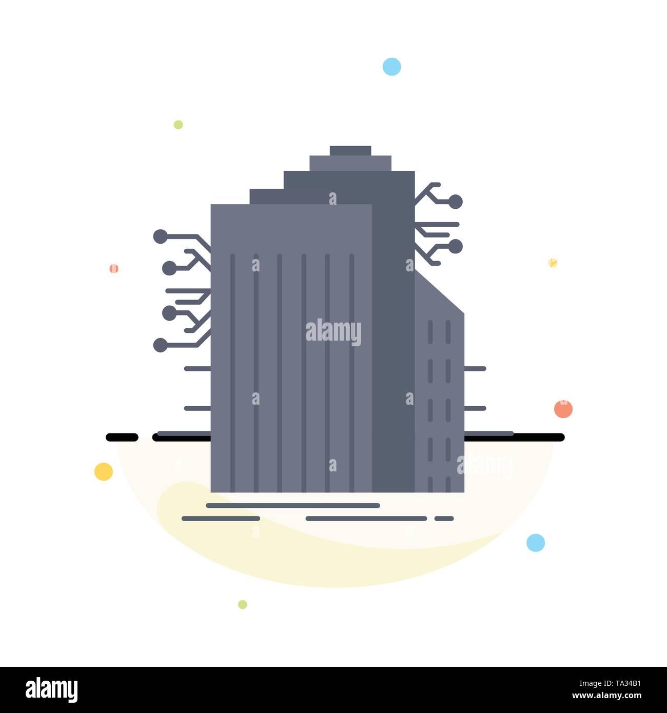 Bau, Technik, Smart City, Verbunden, internet flat Farbe Symbol Vektor Stockbild