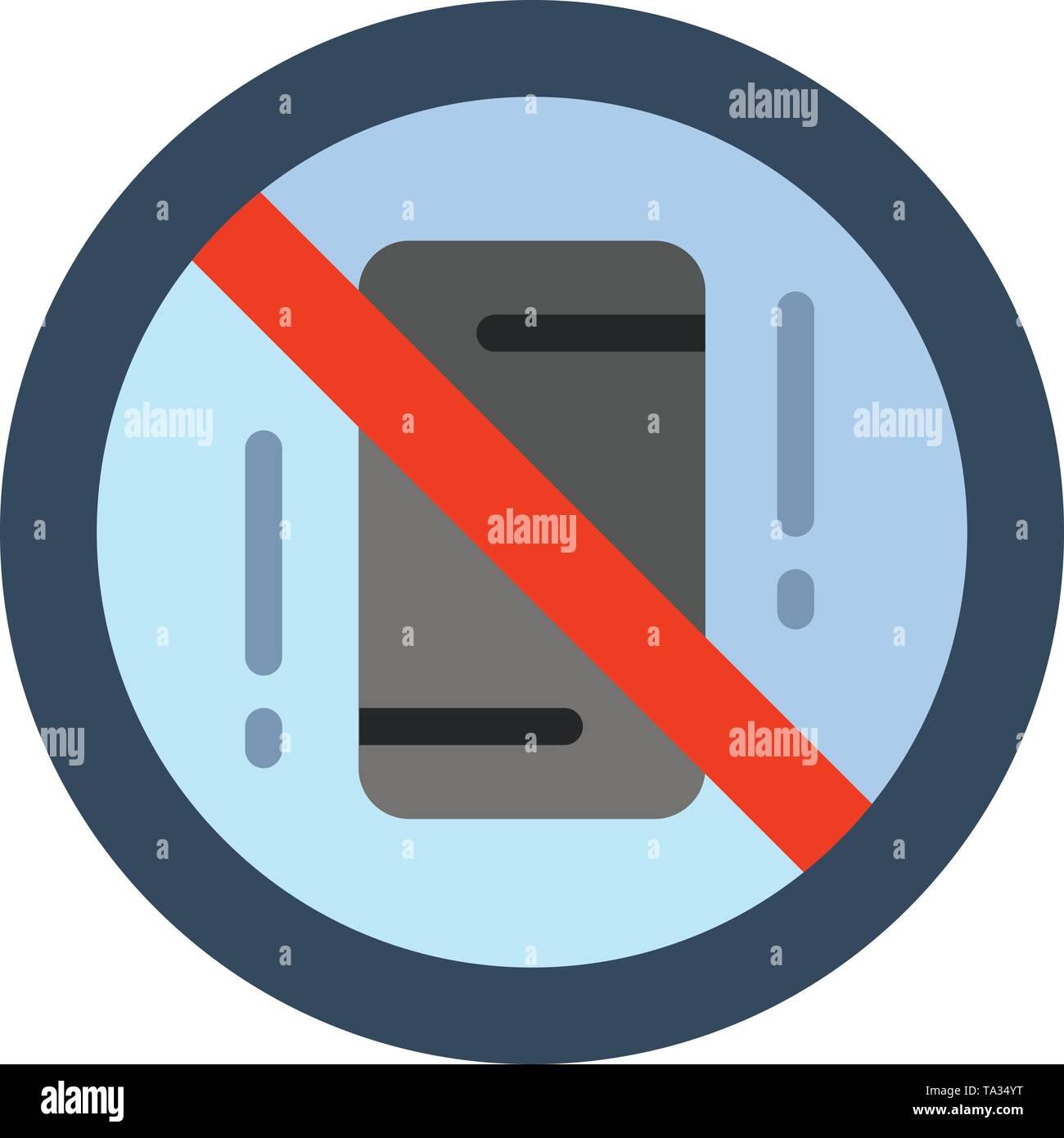 Vermeiden, Ablenkungen, Mobile, Aus, Telefon Flat Farbe Symbol. Vektor icon banner Vorlage Stockbild