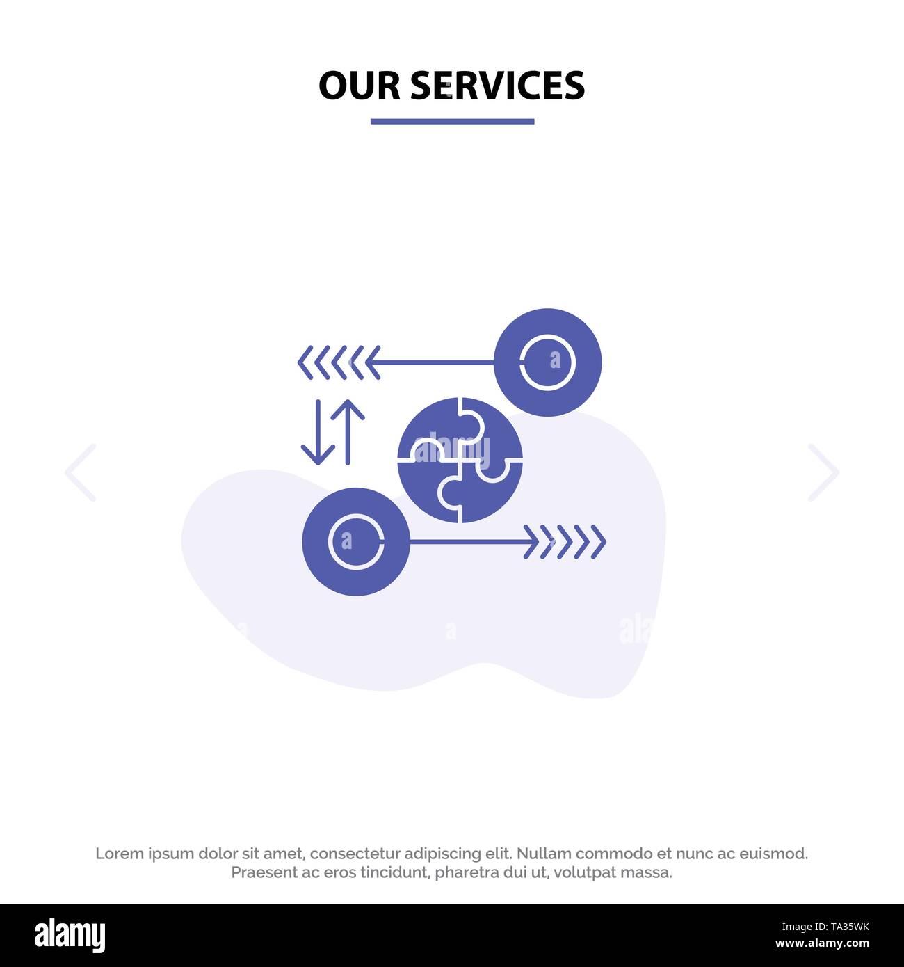 Unsere Leistungen Puzzle, Business, Idee, Marketing, notwendigen soliden Glyph Icon Web Karte Vorlage Stockbild