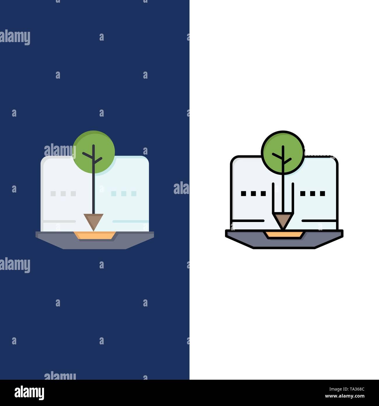 Organische, Inhalt, organische Inhalte, digitale Symbole. Flach und Online ausgefüllt Icon Set Vektor blauem Hintergrund Stockbild