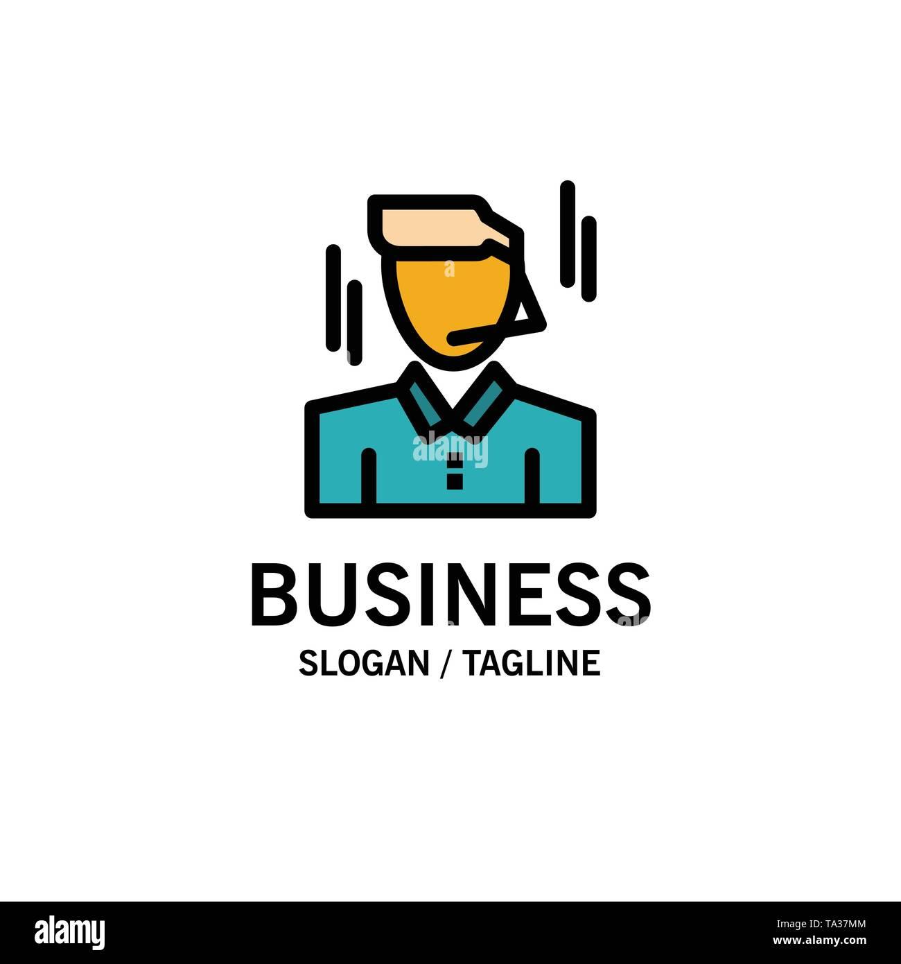 Unternehmer, Manager, Arbeitnehmer, Mann Business Logo Vorlage. Flachen Farbe Stockbild