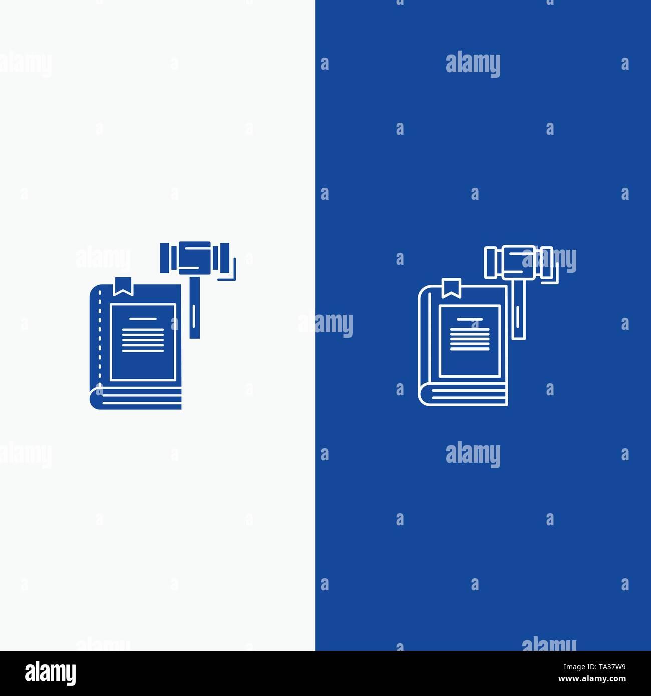Gesetz, Aktion, Auktion, Gericht, Hammer, Hammer, rechtliche und Glyphe feste Symbol blau Banner und Glyphe feste Symbol blau Banner Stockbild