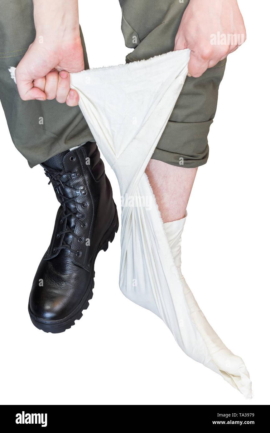 Fuß Tragen Militärischen Schwarze Wraps Und Mit Stiefel VUqMzSp