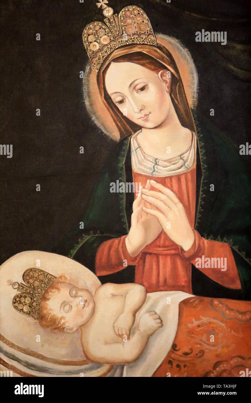 """Icône de la Vierge aux larmes de Sang"""". Notre-Dame de Györ. Crypte. Basilika Notre-Dame de Fourvière. Lyon. Stockbild"""