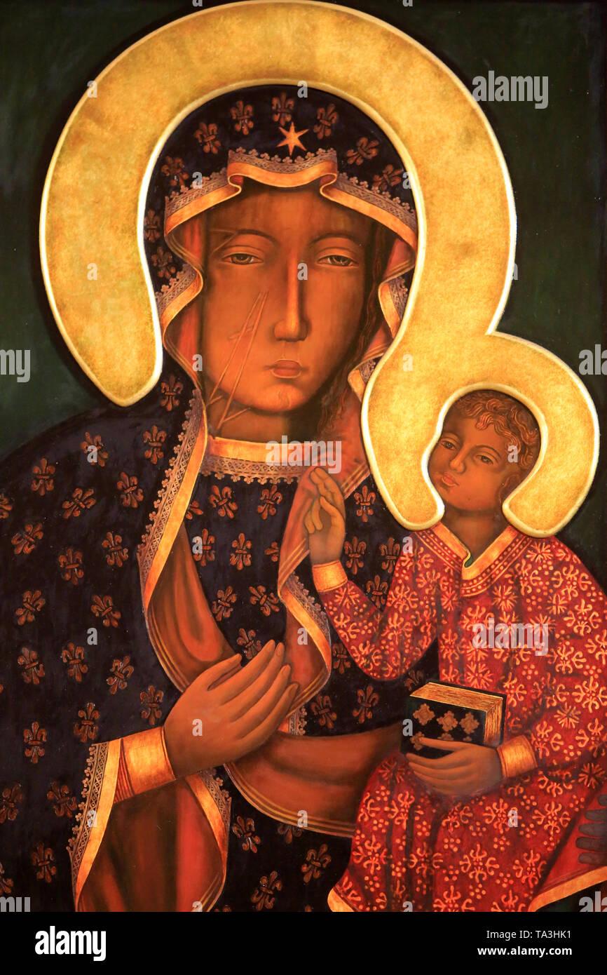 Icone de Notre Dame de Tschenstochau. Crypte. Basilika Notre-Dame de Fourvière. Lyon. Ikone der Muttergottes von Tschenstochau. Krypta. Stockbild