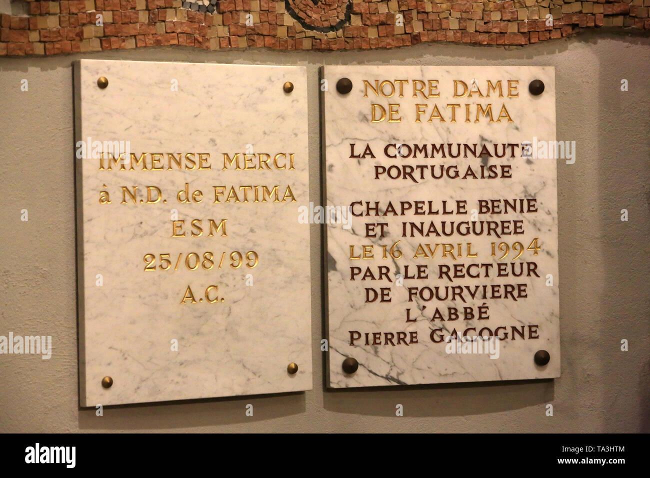 Notre Dame de Fatima. Crypte. Basilika Notre-Dame de Fourvière. Lyon. Unsere Liebe Frau von Fatima. Krypta. Basilika Notre-Dame de Fourvière. Lyon. Stockbild