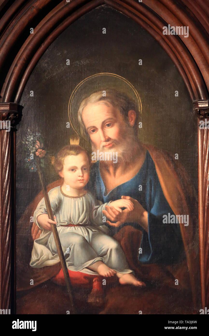 Jésus-Christ enfant et Joseph. Cathédrale Saint-Jean-Baptiste-et-Saint-Etienne. Lyon. Lyon Kathedrale. Stockbild