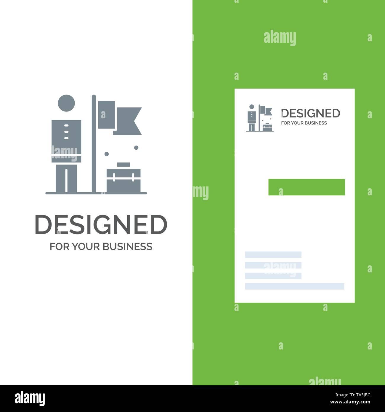 Vollendet, erreichen, Geschäftsmann, Flagge Grau Logo Design und Business Card Template Stockbild