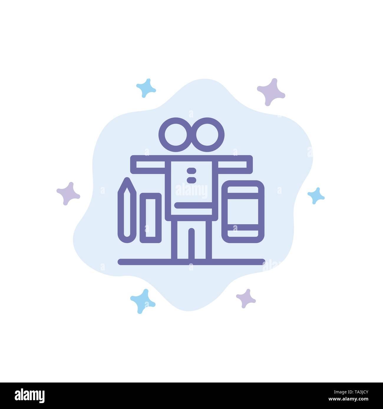 Balance, Leben, Spielen, Arbeiten blaues Symbol auf Abstrakten Cloud Hintergrund Stockbild
