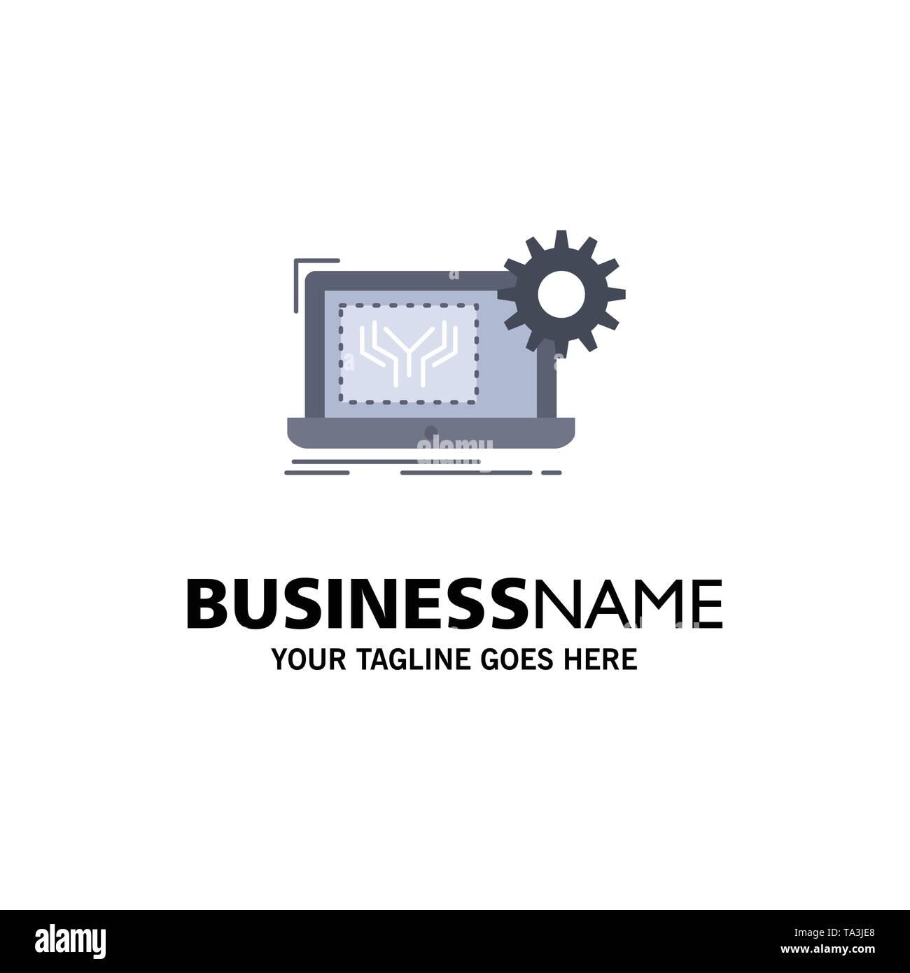 Blueprint, Circuit, Elektronik, Maschinenbau, Hardware flach Farbe Symbol Vektor Stockbild