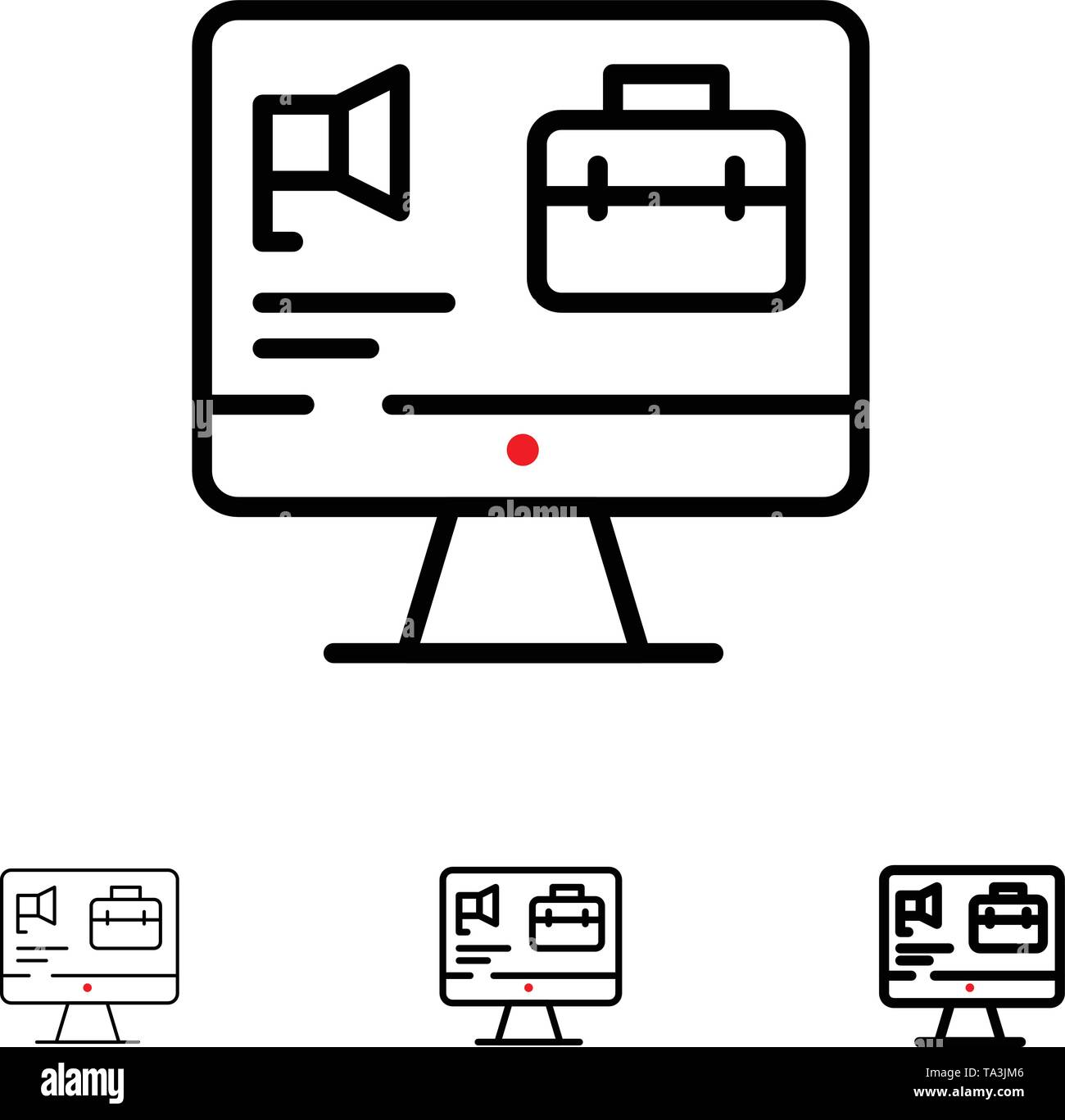 Computer, Tasche, Lautsprecher, Job Bold und dünne schwarze Linie Icon Set Stockbild