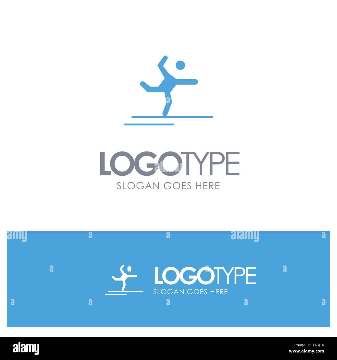 Athlet, Gymnastik, Durchführung, Blue Solid Logo Stretching mit Platz für Slogan Stockbild