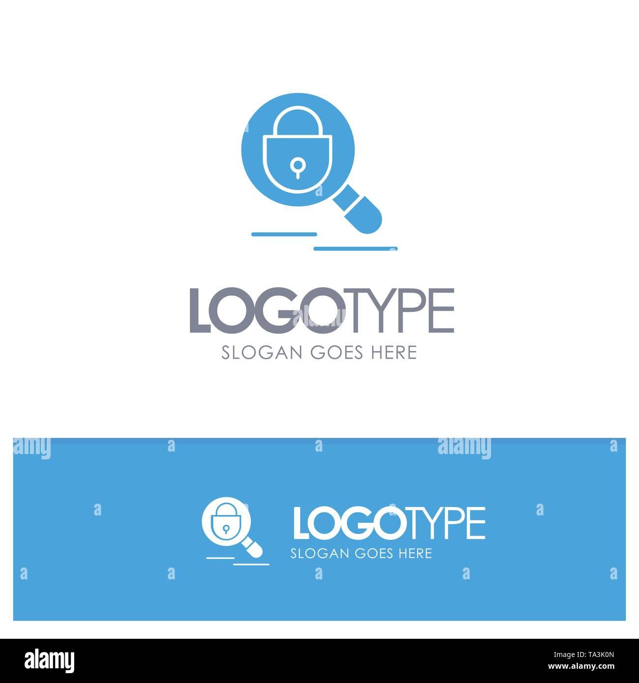 Suchen, Recherchieren, Schloss, Internet Blue Solid Logo mit Slogan Stockbild