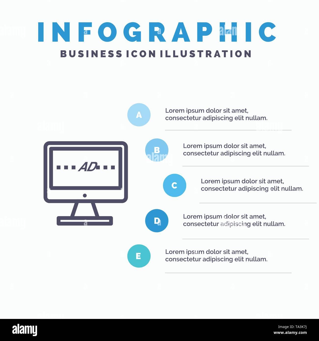 TV, Ad, Fernseher, Bildschirm, LCD-Symbol Leitung mit 5 Stufen Präsentation Infografiken Hintergrund Stockbild