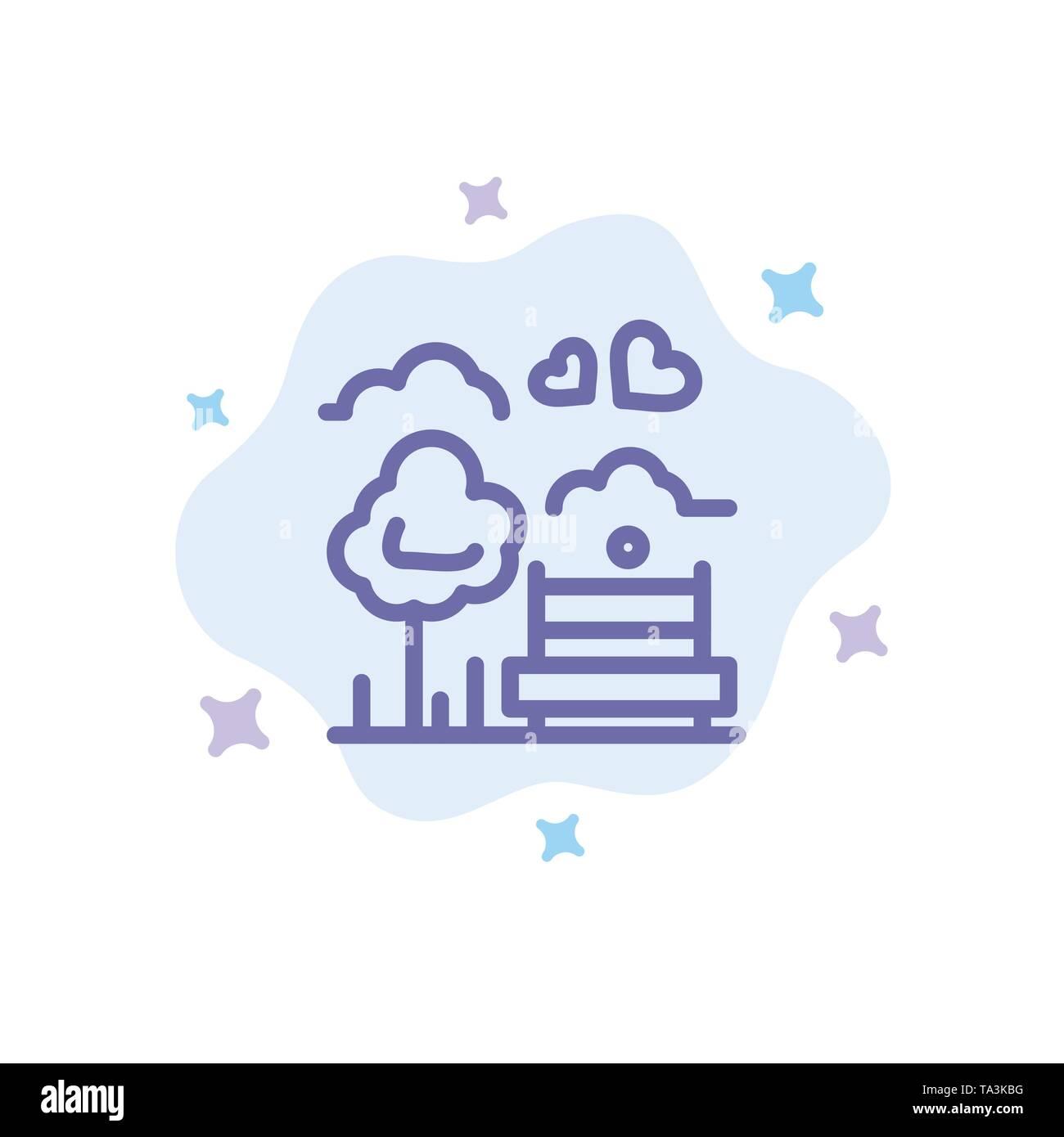 Park, Baum, Bank, Liebe, Outdoor blaues Symbol auf Abstrakten Cloud Hintergrund Stockbild