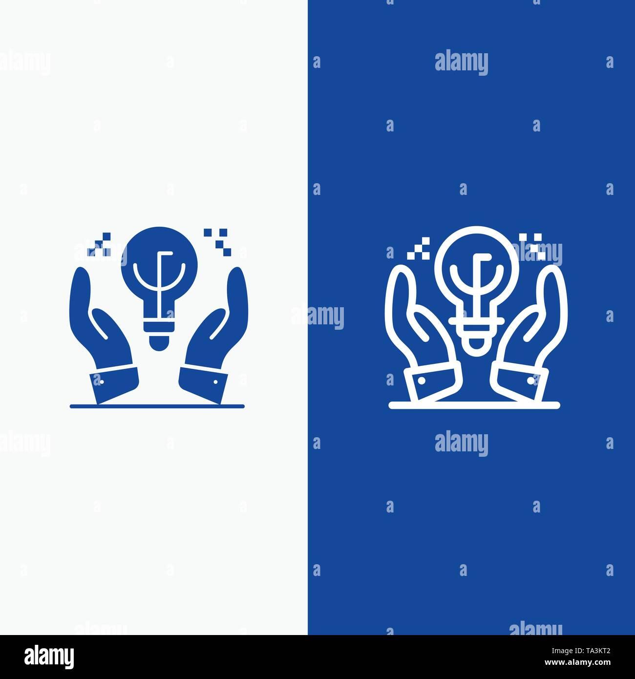 Geschützte Ideen, Business, Idee, Hand- und Glyphe feste Symbol blau Banner und Glyphe feste Symbol blau Banner Stockbild