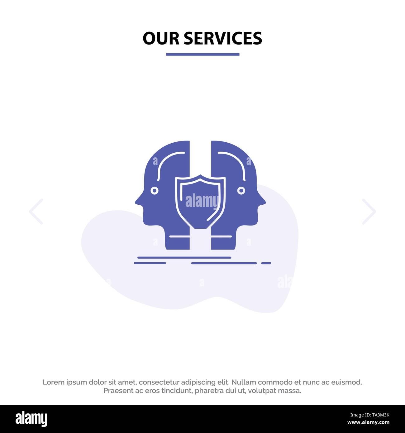 Unsere Dienstleistungen Mann, Gesicht, Dual, Identität, Shield Solid Glyph Icon Web Karte Vorlage Stockbild