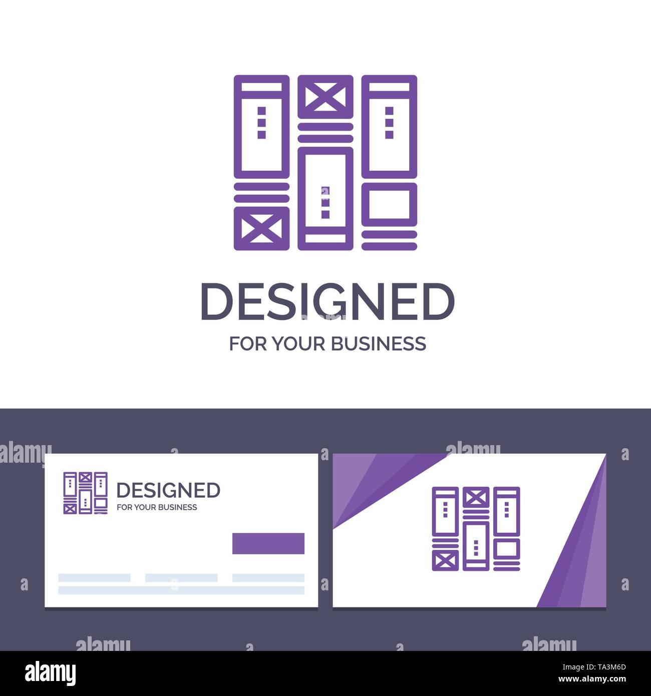 Creative Business Card und Logo Vorlage Kabel Framing, Skizzieren, Drahtmodell, Idee, Vektor, Abbildung Stockbild