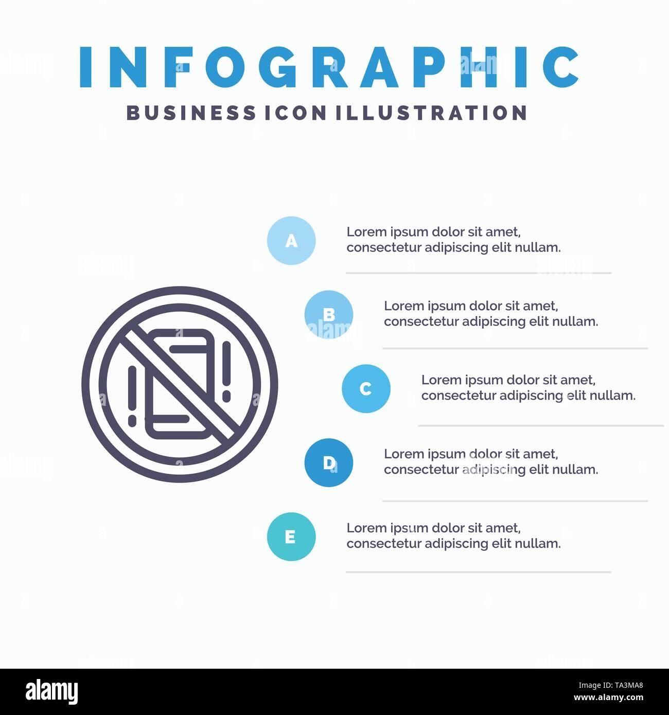Vermeiden, Ablenkungen, Mobile, Aus, Telefon Symbol Leitung mit 5 Stufen Präsentation Infografiken Hintergrund Stockbild