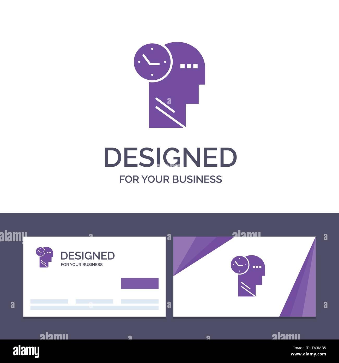 Creative Business Card und Logo Vorlage Zeit, Geist, Gedanken, Leiter Vector Illustration Stockbild