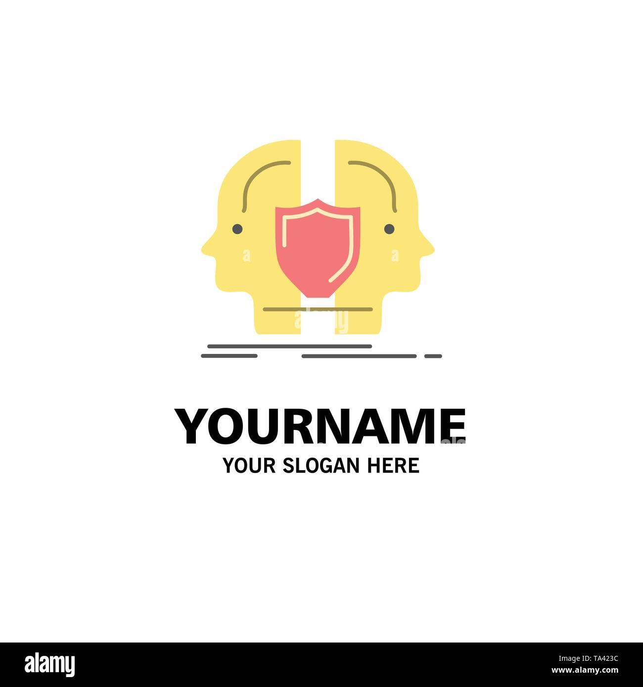 Mann, Gesicht, Dual, Identität, Schild Business Logo Vorlage. Flachen Farbe Stockbild