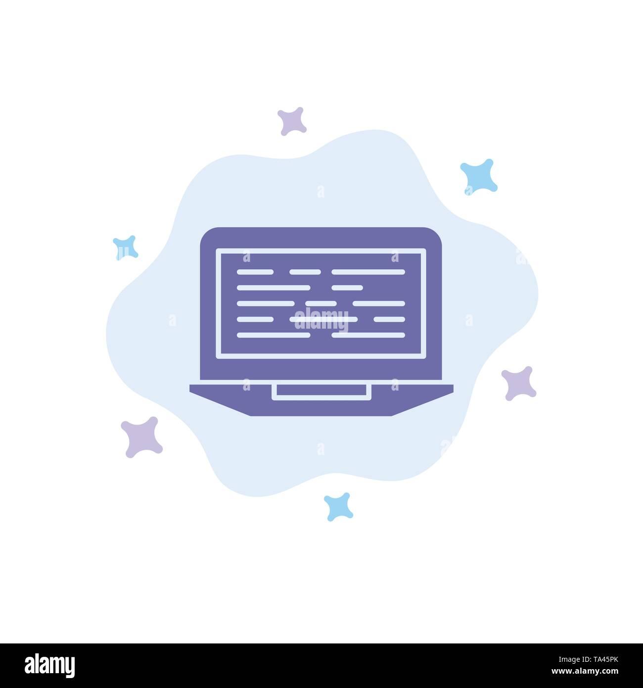 Laptop, Kodierung, Code, Bildschirm, Computer blaues Symbol auf Abstrakten Cloud Hintergrund Stockbild