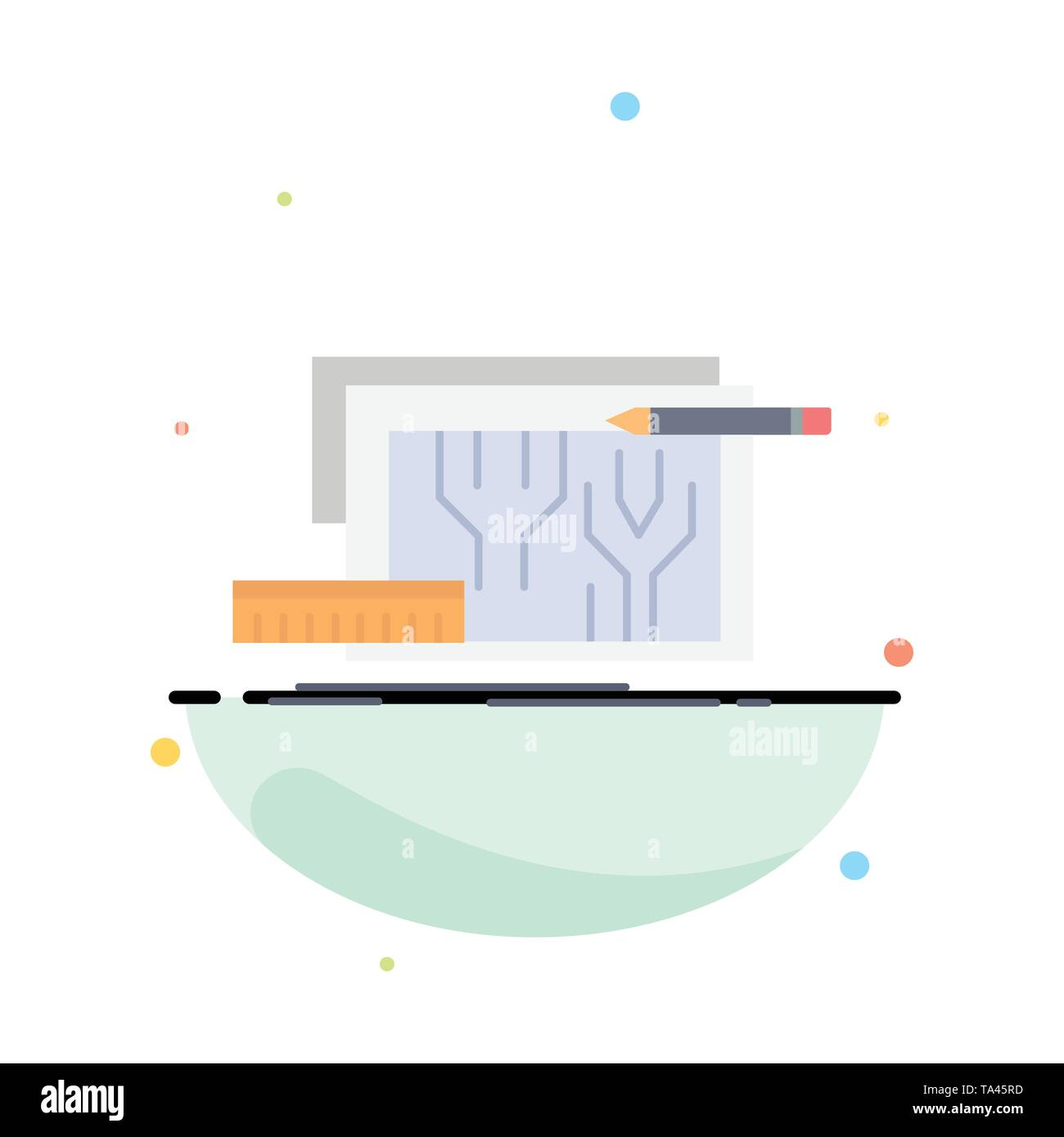 Architektur, Blaupause, Stromkreis, Design, Engineering flachen Farbe Symbol Vektor Stockbild