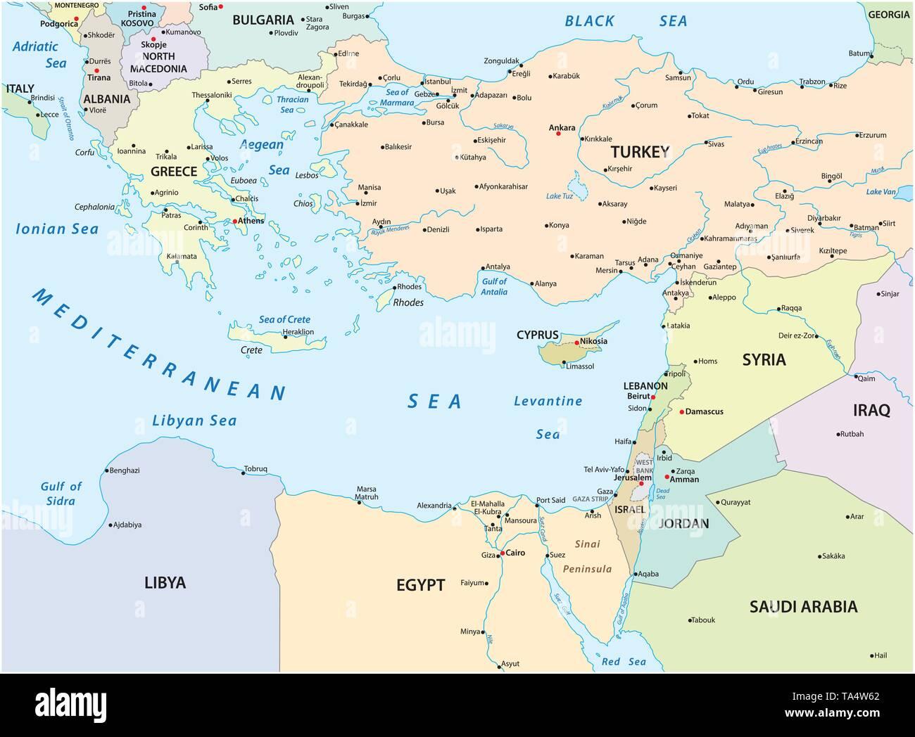 Land Karte Des Ostlichen Mittelmeer Vektor Abbildung Bild