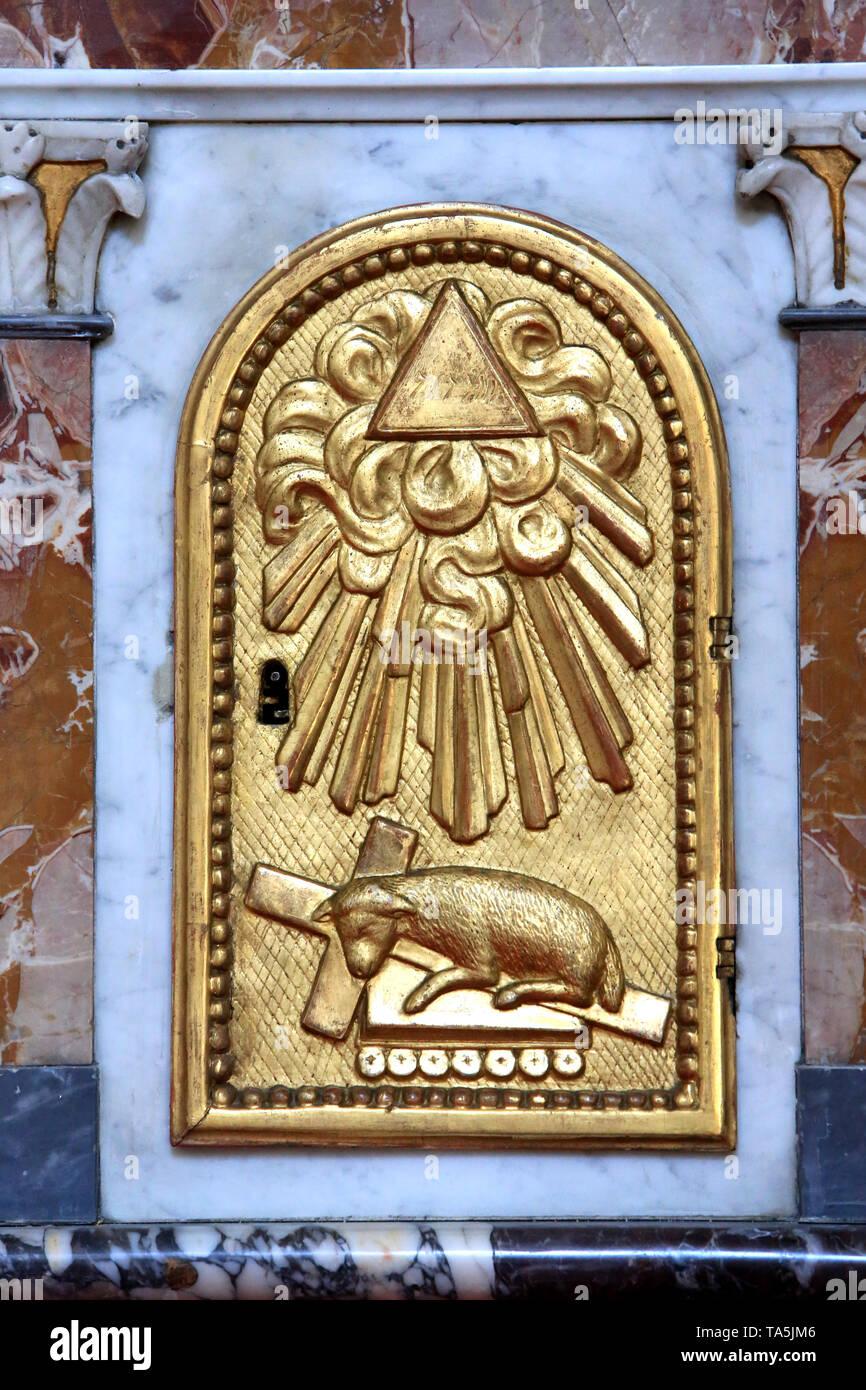 Agnus Dei. Wohnung. Eglise Saint-Bruno-les-Chartreux. Lyon. Agnus Dei. St. Bruno's Kirche. Lyon. Stockbild