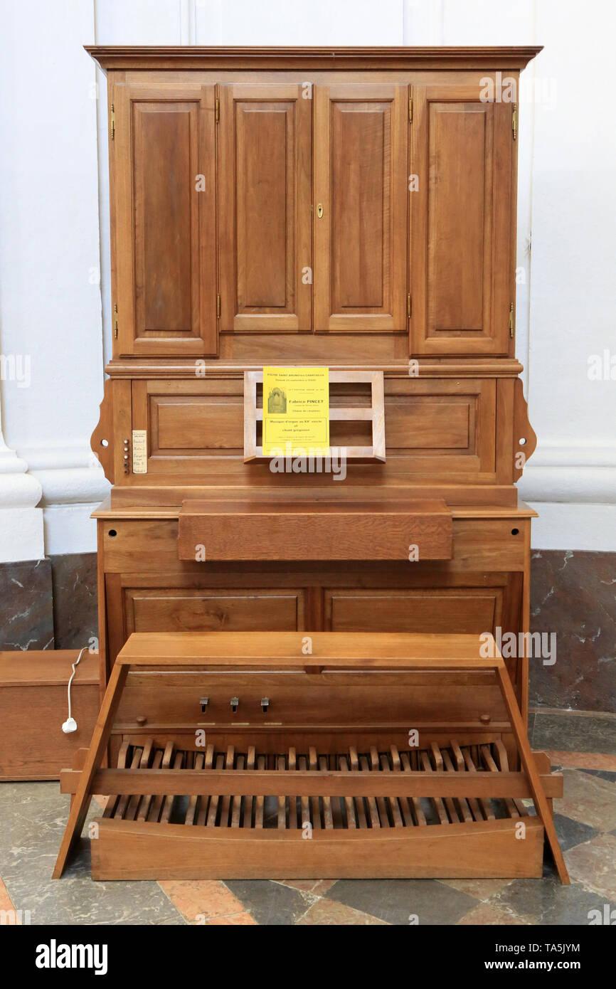 Orgue. Eglise Saint-Bruno-les-Chartreux. Lyon. Orgel. St. Bruno Les Chartreux's Kirche. Lyon. Stockbild