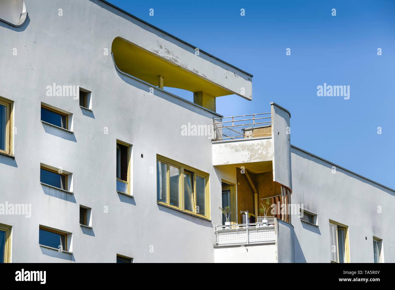 """'Dwelling Haus """"schlachtkreuzer"""" von Hans Scharoun, jungfer Moor Weg, große Siedlung Siemensstadt, Spandau, Berlin, Deutschland"""", Wohnhaus """"Panzerkreu Stockbild"""