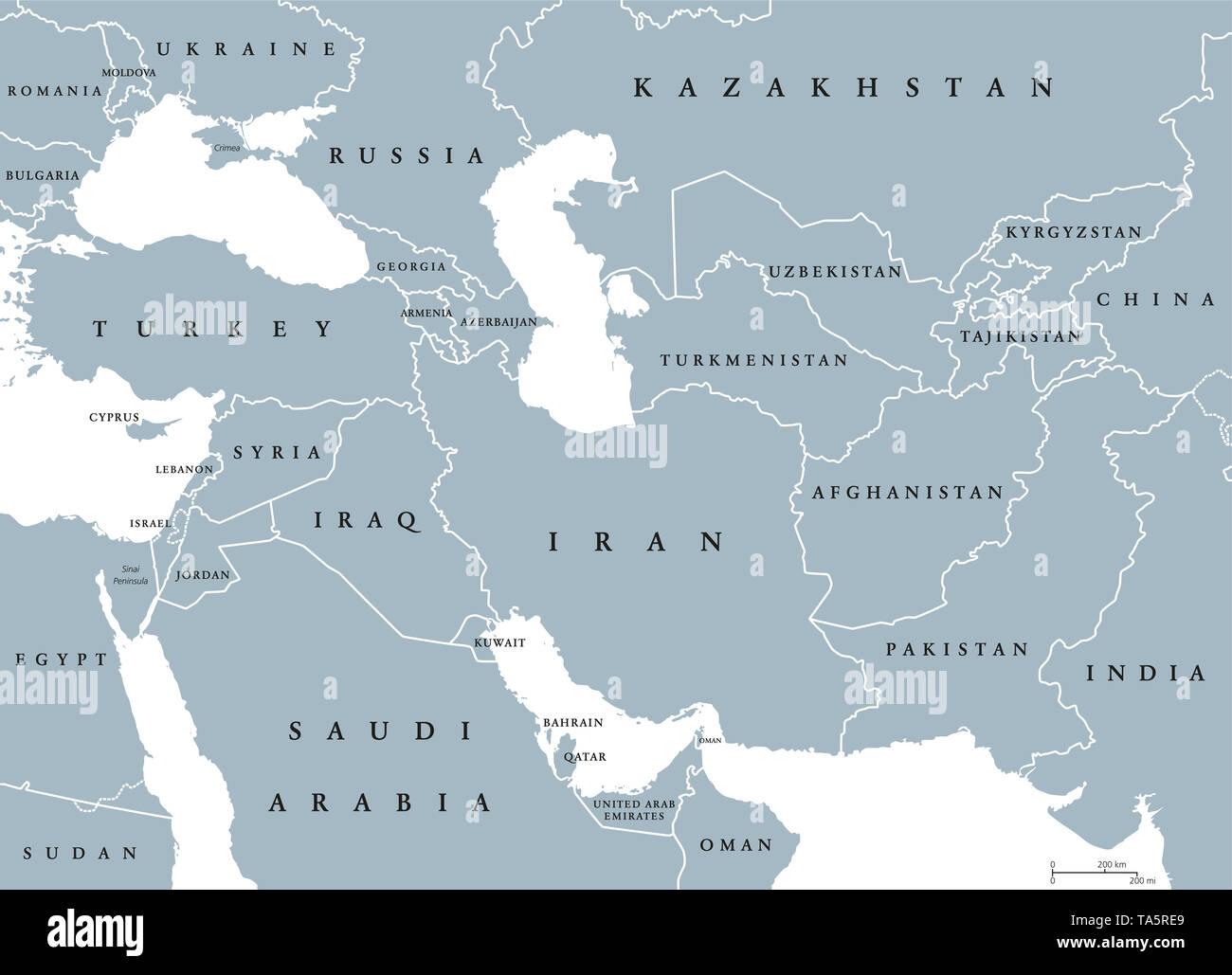 Politische Karte Asien.Südwesten Asien Politische Karte Mit Grenzen Auch Als Westliche