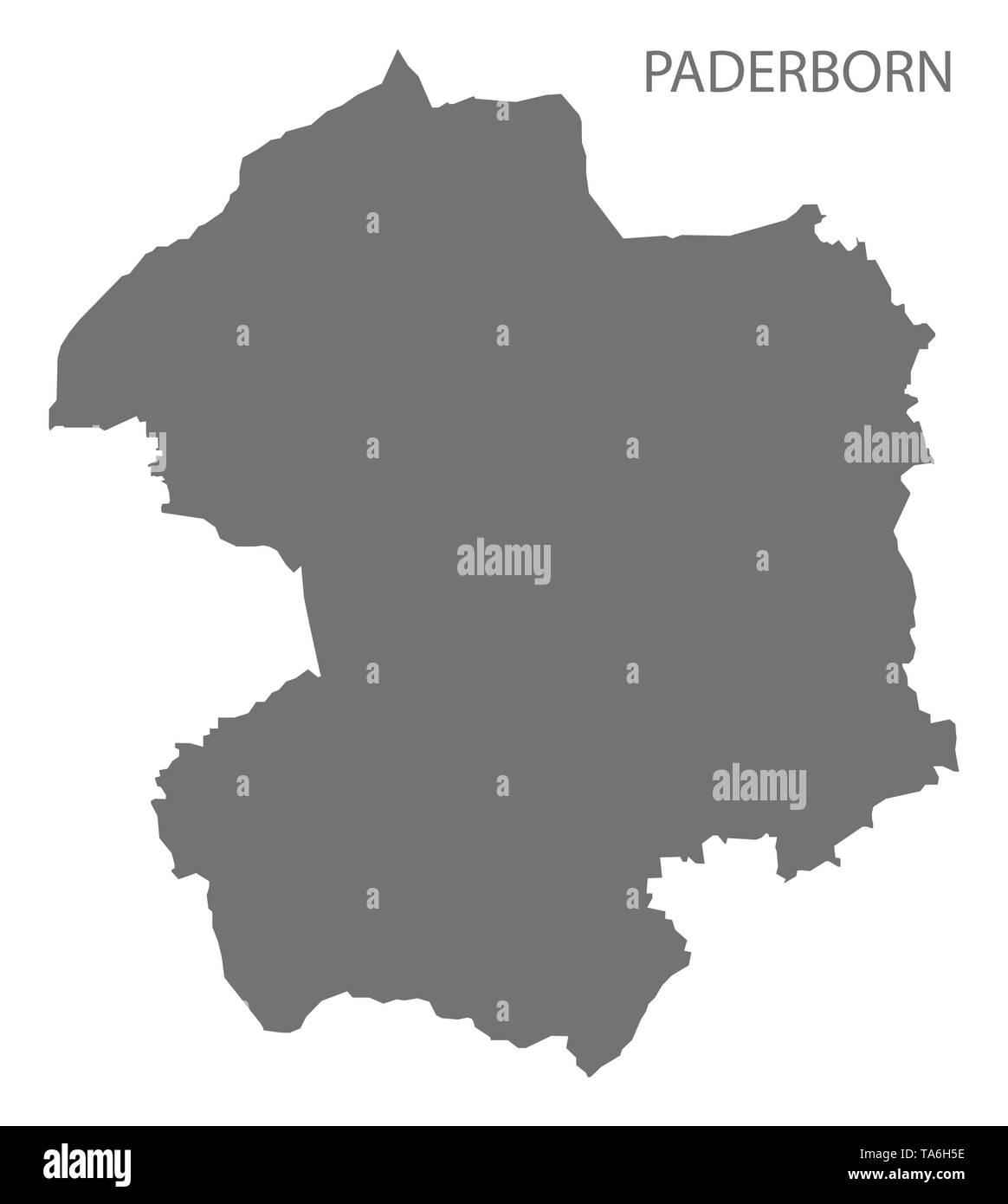 Karte Paderborn.Paderborn Gray County Karte Von Nordrhein Westfalen De Vektor