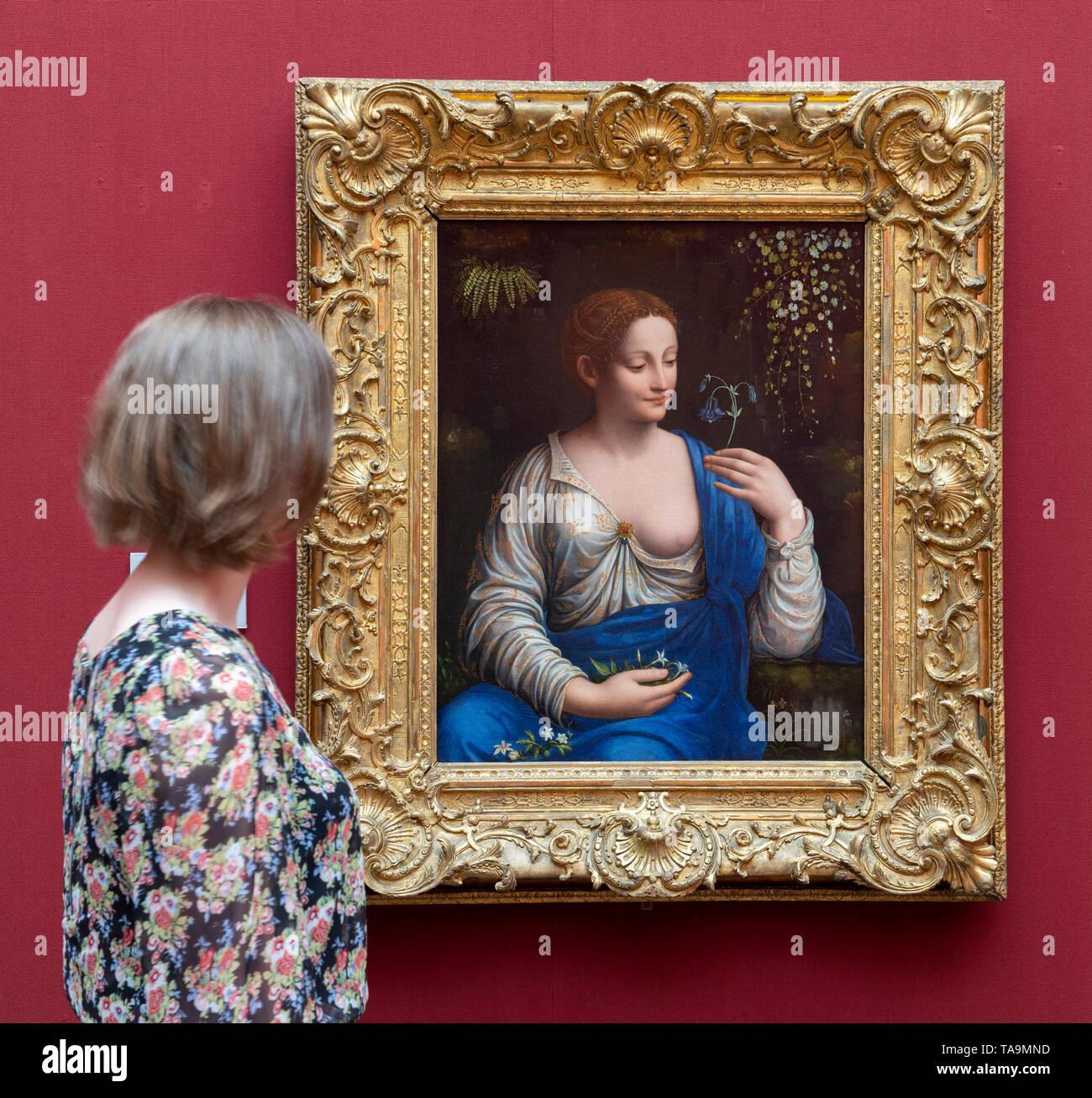 National Gallery, London, UK. 23. Mai 2019. Leonardo's Legacy: Francesco Melzi und der Leonardeschi Ausstellung. Die National Gallery ist der 500. Geburtstag von Leonardo da Vinci's Tod mit einer Anzeige bei der Präsentation der außergewöhnlichen Darlehen von den kürzlich restaurierten Flora (ca. 1520) von Francesco Melzi aus der Eremitage, St. Petersburg. Dies ist das erste Mal das Gemälde in der UK gesehen worden ist und zum ersten Mal außerhalb Russlands zu sehen ist seit seiner Restaurierung. Credit: Malcolm Park/Alamy Leben Nachrichten. Stockbild