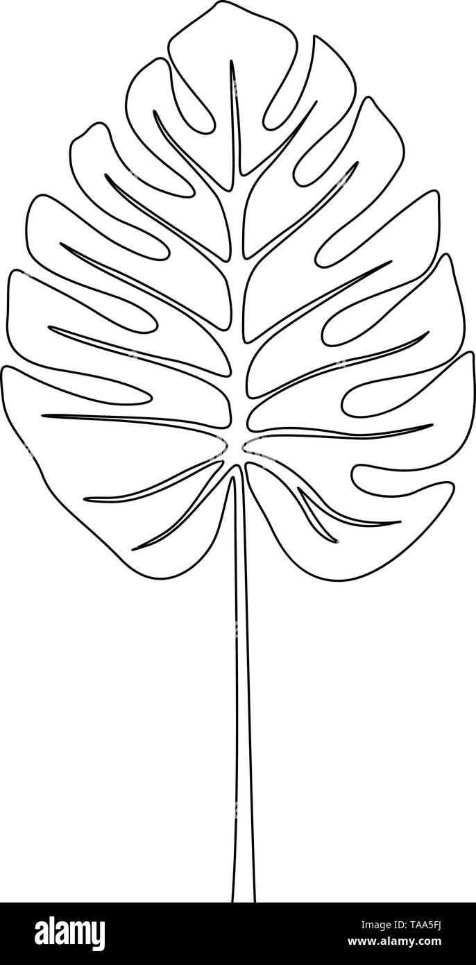 Eine Strichzeichnung split Blatt philodendrom Monstera. Kontinuierliche Linie exotische tropische Pflanzen. Stockbild