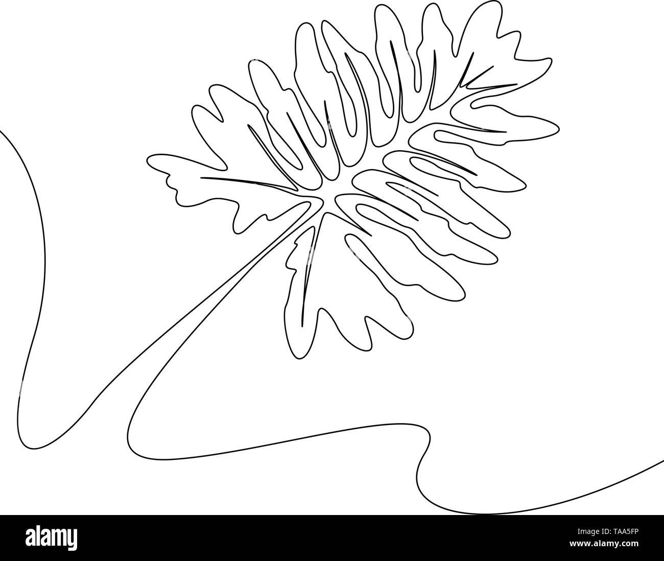 Eine Strichzeichnung tropischer Flora. Kontinuierliche Linie exotische Pflanze. Stockbild