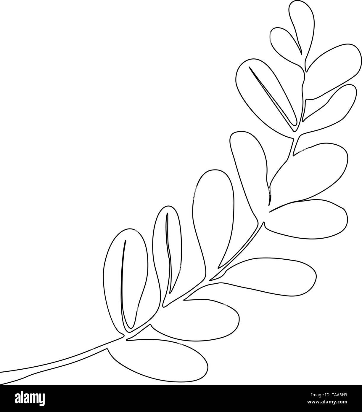 Eine Strichzeichnung tropischen Zweig. Durchgehende Linie exotische Pflanze. Stockbild